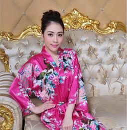 Wholesale Kimono Style Pajamas - 20sets lot New arrival Sexy Women's Japanese Silk Kimono Long style Robe Pajamas Nightdress Sleepwear Broken Flower Kimono Underwear