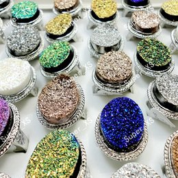 Wholesale Al Alloys - Fashion al por Mayor Glitter Stone Silver Plated Rings for Women Wholesale Jewelry Lots Free Shipping LR163