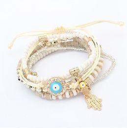 Perlen Armbänder Schmuck Mode Frauen Böhmen Bunte Harz Perlen Legierung Hand Eye Charm Armbänder 6-teiliges Set Großhandel BR449 von Fabrikanten