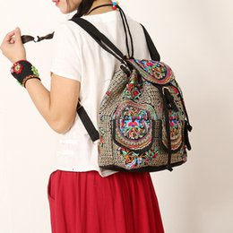 Wholesale Embroidered Drawstring Bags - Women Handmade Flower Embroidered Shoulder Bags National Style Canvas Embroidery Drawstring Hasp Backpack Travel Backpacks for Women Girls