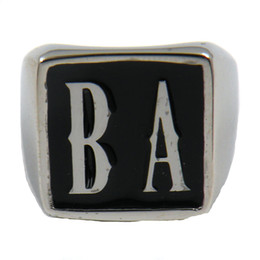 Wholesale Ba Jewelry - Custom made Stainless steel MENS WEMENS SIGNET jewelry initials alphabet BA name letters ring set brothers sisters gift 2 LETTES