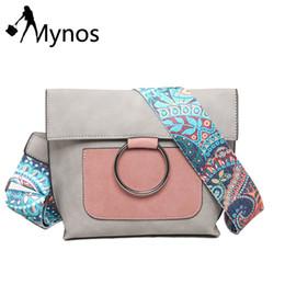 Wholesale wholesale suede purses - Wholesale- MYNOS Women Crossbody Bag Metal Ring Shoulder Bag Suede Leather Messenger Bag Patchwork Purse Bolsas Feminina SAC A MAIN Femme