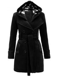 Wholesale Coat Womens Woolen - Wholesale- Womens Fashion Woolen Double Breasted Pea Coat Casual Hoodie Winter Warm Jacket