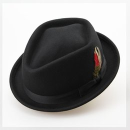 Wholesale Red Bowler - Wholesale-Vintage Australian Wool Felt Jazz Men Hat Male Floppy Feather Fedora Bowler Hat Fashion Flat Dome S M Large Size Woolen Hat
