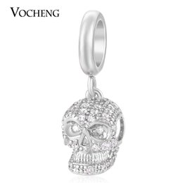 Wholesale Skull 18k - VOCHENG Endless Charms Skull Charm Inlaid CZ Stone 3 Colors Brass Material Non-fading DIY Accessory for Garden Bracelet VC-172
