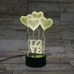 Wholesale Night Shop - Creative Touch LED 3D light illusion love USB Touch Night Light Sculpture Desk Lamp Art Room shop Christmas Decor festival party gift