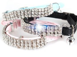 Wholesale Dog Collars Leashes Rhinestones - 69 pcs Rhinestone High quality dog pet puppy collars with bell dog products pet supply dot necklace free shipping