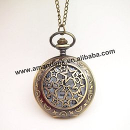 Wholesale Watches Necklaces Cheap - 100pcs lot Hot sale vintage style hollow out star design Cheap openable pocket watch necklace with chain,necklace dress watches