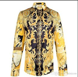 Wholesale Silk Fabric Shirts - 2015 2016 New Arrival Brand Royal Style Shirts Fahion Shows Fabric Silk Shirts Men's Long Sleeve High Quality Gold Print Shirts