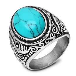 Wholesale turquoise stone ring free shipping - free shipping European and American retro stainless steel ring men's Jewelry Vintage Turquoise with titanium ring