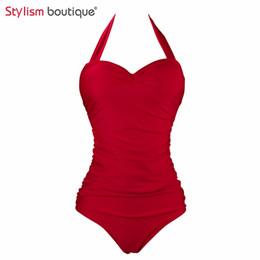 Wholesale Classic Bathing Suits - Wholesale- Classic Solid Red Swimsuit Summer Women Halter One Piece Bathing Suit Swimwear Bodycon Slimming Bodysuit Monokini