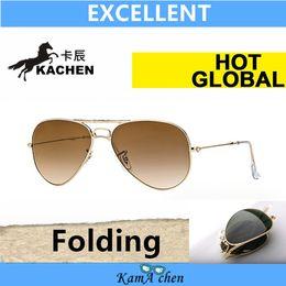 Wholesale Gun Black Glass - KaChen folding green Lens Black Silver Gun Black Frame PILOT UV400 protection sunglasses glasses 58mm 62mm men women
