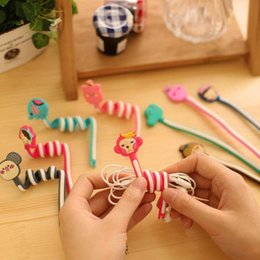 Wholesale Cartoon Cable Holder - Cute Cartoon Earphone Wire Cord Cable Winder Organizer Holder for iPhone 7,6S,6,SE Electric Cable winding thread tool