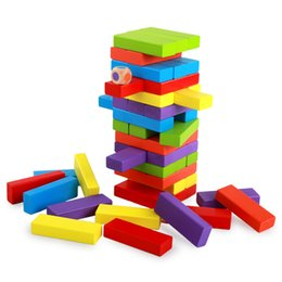 Wholesale Domino Game Toys - High Quality Wood Building Figure Blocks Domino 54pcs Stacked Extract Jenga Game Gift Kids Early Educational Beech Wooden Toys Set