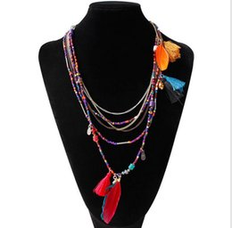 Wholesale Small Beaded Necklaces - Multicolor Feather Small Beads Chain Necklace Bohemia Fine Jewelry Fashion Metal Chain Resin Pendant Necklaces Women 5 colors