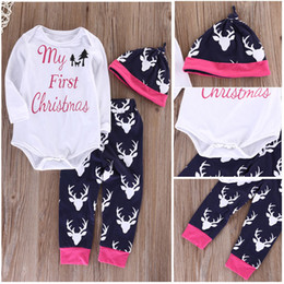 Wholesale First Suits - 2016 new arrival baby rompers suits Newborn kids boys Girls my first christmas letter printed Deer sets Tops+Long Pants Hat 3PCS Outfits Set