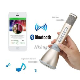 Wholesale Phone Recorder Iphone - 2016 Newest Wireless Bluetooth Microphone K068 with Mic Speaker Condenser Mini Karaoke Player KTV Singing Recorder for Samsung iPhone HTC