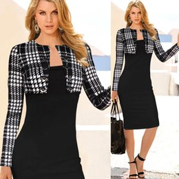 Wholesale Womens Office Dress Clothes - Elegant Bodycon Ladies Formal Work Office Dresses Long Sleeves Knee Length Fall Black Pencil Party Evening Womens Bodice Clothing OXL036