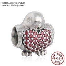 Wholesale Authentic Pandora Red Pave - Fits Pandora Bracelets Red Robin Charm Bead Authentic 925 Sterling Silver Pave Clear CZ Bird Animal Bead Diy Autumn Fine Jewelry