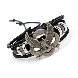 Wholesale Eagle Leather Bracelet - Mens Infinity Bracelets Handmade Alloy Eagle Style Multilayer Woven Leather Bracelets Personality Charm Bracelets Punk Wristband Jewelry