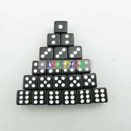 Wholesale 100pcs D6 MM Dice SOLID BLACK with WHITE point automatic mahjong game KTV party machine dice IVU