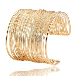 Wholesale Wide Gold Bracelets For Women - 2015 Fashion Punky Style Hollow Cuff Retro Braid Big Gold Plated Bangles For Women Charm Vintage Multilayer Wide Bracelet