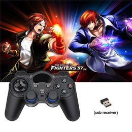 2017 joystick inalámbrico androide 2.4G Wireless Game Controller Joystick Gamepad Mini teclado remoto para Universal Android TV Boxes Smartphones Paquete al por menor joystick inalámbrico androide outlet