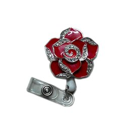 Wholesale Cute Badges - Fashionable Retractable Badge Holder Cute Adorable Red Bling Rhinestones Crystal Flower Reels ID Card Clip Holders