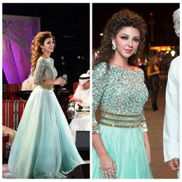 Wholesale Beaded Organza Empire - Sparkling 2017 New Beaded 3 4 Long Sleeve Organza Evening Dress With Beading Arabia Arabic Backless Singer Myriam Fares Prom Gowns