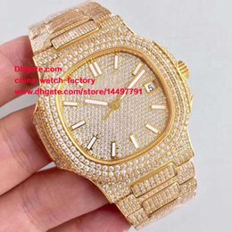 Wholesale Yellow Sapphire Bracelet - 3 Style Best Edition DMF 18k Yellow Gold 40mm Nautilus 5719 10G-010 Full Diamond Bracelet Cal.324 S C Movement Automatic Mens Watch Watches