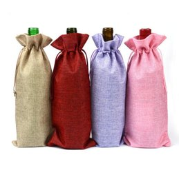 Wholesale Wine Paper Gift Bag - Jute Wine Bottle Bags Champagne Bottle Covers Linen Gift Pouches Burlap Hessian Packaging Bag 500pcs OOA2733