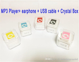 Wholesale C Clip Mp3 Player - Christmas Gift C Button Mini Clip MP3 Player With TF Card Insert Support To 8GB + USB+Earphone+Crystal Box
