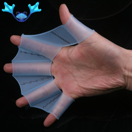 Wholesale Webbed Swimming Gloves - 2017 New Women Men Kids Silicone Material Swim Gear Fins Hand Web Watersport Training Diving Gloves Webbed Gloves for Swimming