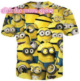 Wholesale Mes Shirts - New Fashion Couples Men Women Despicable Me Minions 3D Print No Cap Casual T-Shirts Tee Tops Wholesale S-5XL T32