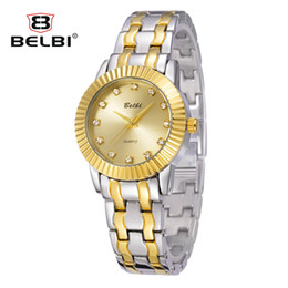 Wholesale Gear Display - Fashion Simple Women Wristwatches Luxury Business Alloy Watch Strap Gear Side with Diamond Display Design for Woman Watches AAA Brand BELBI