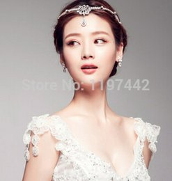 Wholesale Wedding Forehead Headdress - The new high-end head chain wedding jewelry pearl bridal headdress frontlet forehead hair accessories acessorios para cabelo