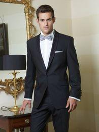 Wholesale Italian Wool Men Suit - 2017 One button Italian suits mens suits for wedding Jacket+Pants+Tie mens Tuxedos best men suits Custom Made Groomsmen suits