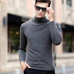 Wholesale men s cashmere turtlenecks - Wholesale-Whole Cashmere Men Sweater Solid Color 2016 Autumn Winter New Style Men's Turtleneck Pullover Knitted Sweater Wool Pull Homme