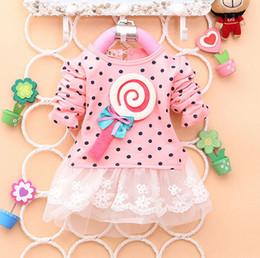 Lutscherkleider online-Spitzenkleid Baby Kind Mädchen Lollipop Polka Langarm Spitzenkleid Bow Tutu Kleid 2-4Y Prinzessin