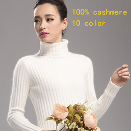 Wholesale ms cashmere - Wholesale- 100% cashmere turtlenecks Ms. piles of hedging high collar sweater cashmere sweater Slim bottoming shirt free shipping