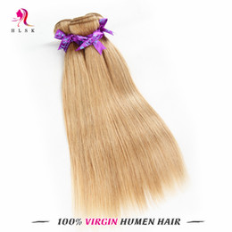 Wholesale Longest Weave Hair - Silky Indian Straight Wavy Hair Extensions 4 Bundles Blond Indian Virgin Remy Hair Products Double Weft Long Lasting