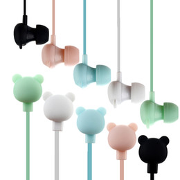 Wholesale cartoon mini mp3 player - Cute Plastic Candy Color In-ear Universal Microphone Stereo Cartoon Mini Earphones 3.5mm for Samsung Xiaomi MP3 MP4 Player OPP Bag