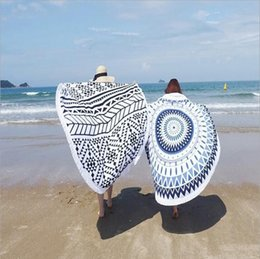 Wholesale cotton shawl printed wholesale - Purified Cotton Beach Towel With Active Tassel Circle Large Printed Tapestry Indian Mandala Round Sunbathe Shawl towel Shawl Wrap Yoga Mat
