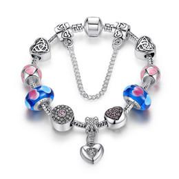 Wholesale Clay Pave Heart Beads - European Pandora Style Charm Bracelets with Blue Murano Glass Beads & Heart Pave Charms & Heart Dangles Fashion DIY Bangle Bracelets BL147