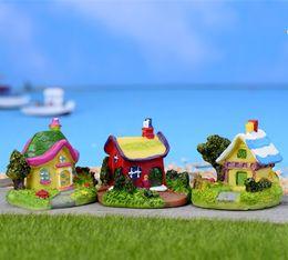 Wholesale Villa Wedding - Sale artificial dollhouse villa building fairy garden miniatures gnomes moss terrariums for home decorations accessories
