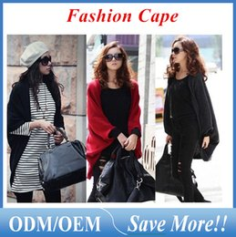 Wholesale Bat Wings Women Tops - Woman outfit Wind Women's Bat wing Cape Poncho Cardigan Sweater soft fabric Knit Tops Shawl Coat 3 Colors ouc021
