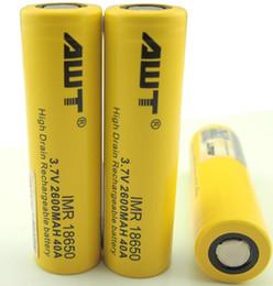 Wholesale Mini Volt Battery - 2016 AWT yellow 40a 18650 2600mah battery vanadium redox flow battery awt 40a 18650 battery for mini volt mod tophat mod