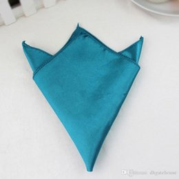 Wholesale Teal Wedding Tables - 20 Teal Blue 12inch 30cm Square Satin Dinner Napkins or Handkerchiefs Wedding Party Color Table Serviettes Free Shipping