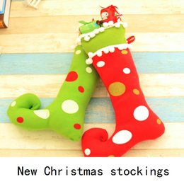 Wholesale Christmas Decorations For Windows - New Creative furnishing articles to hang Christmas window Christmas stockings on Christmas decoration gifts for Christmas candy bag B0755