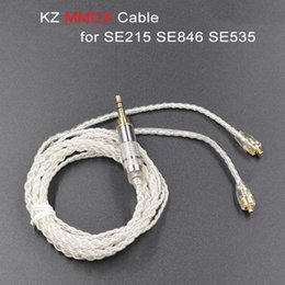 Wholesale Cable Jack Plate - OKCSC KZ Earphone Replacement Cable Silver Plated MMCX Jack Upgrade Audio Cord For SHURE Headphones SE215 SE535 SE846